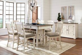 Bolanburg Collection 8-Piece Dining Room Set with Dining Room Counter Table, 6 Barstools and Server in Two-Tone