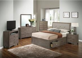 G1205BFSBCHDMNTV 6 Piece Set including Full Storage Bed, Chest, Dresser, Mirror, Nightstand and Media Chest  in Gray