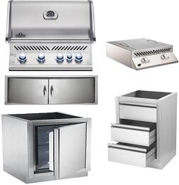 """5-Piece Stainless Steel Outdoor Kitchen Package with BIPRO500RBNSS2 31"""" Natural Gas Grill, BISZ300NFT 20"""" Side Burner, IMFHR 35"""" Outdoor Refrigerator, N3700358SS1 Double Access Door, and IM2DC 24"""" Storage Drawer"""