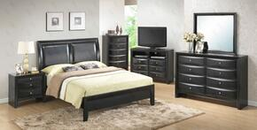 G1500AQBCHDMN 5 Piece Set including Queen Size Bed, Chest, Dresser, Mirror and Nightstand in Black