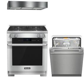 """3-Piece Stainless Steel Kitchen Package with HR1924DFLP 30"""" Freestanding Dual Fuel Range, DA1280 30"""" Under Cabinet Hood, and G6565SCVISF 24"""" Fully Integrated Dishwasher"""