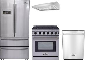 "4-Piece Stainless Steel Kitchen Package with HRF3601F 36"" French Door Refrigerator, LRG3001U 30"" Freestanding Gas Range, HRH3006U 30"" Under Cabinet Hood, and HDW2401SS 24"" Built-In Dishwasher"