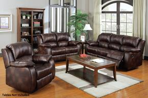 Zanthe 50510SLR 3 PC Living Room Set with Sofa + Loveseat + Recliner in Brown Color