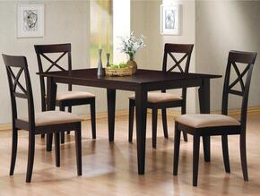 100771SET74 Mix & Match Cross Back 5 PC Dining Set, Table + 4 Chairs, in Cappuccino