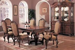 Saint Charles 100131SET 8 PC Dining Room Set with Table + 4 Side Chairs + 2 Arm Chairs + China Cabinet in Deep Brown Finish