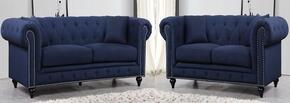 Chesterfield 662NAVY-S-L 2 Piece Living Room Set with Sofa + and Loveseat in Navy