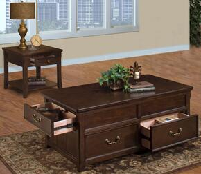 30007CE Timber City 2 Piece Living Room Table Set with Cocktail Table and End Table, in Sable