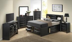 G1500GKSB3CHDMNTV 6 Piece Set including King Size Bed, Chest, Dresser, Mirror, Nightstand and Media Chest  in Black