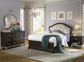 Glamour 86885303101BDMN 4 PC Bedroom Set with Twin Size Bed + Dresser + Mirror + Nightstand in Black Cherry Finish
