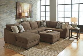 Audrina Collection MI-3939LSSOSTET2LR-TEAK 7-Piece Living Room Set with Left Chaise Sectional Sofa, Ottoman, Sofa Table, End Table, 2 Lamps and Large Rug in Teak Brown