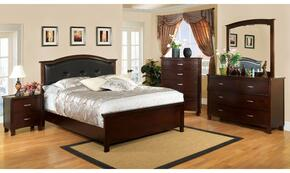 Crest View Collection CM7599CKBDMCN 5-Piece Bedroom Set with California King Bed, Dresser, Mirror, Chest, and Nightstand in Brown Cherry Finish