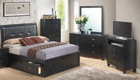 G1250BQSBDMTV 4 Piece Set including  Queen Size Storage Bed, Dresser, Mirror and Media Chest  in Black
