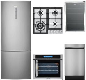 "6-Piece Stainless Steel Kitchen Package with HRB15N3BGS 28"" Bottom Freezer Refrigerator, HCC2220BEB 24"" Smooth Cooktop, HCH2100ACS 24"" Wall Mount Hood, HCW225RAES 24"" Wall Oven, QDT125SSKSS 18"" Dishwasher, and 15"" Ice Maker"