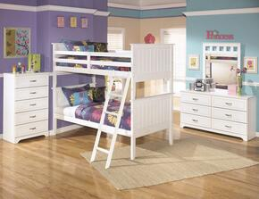 Lulu Twin Bedroom Set with Bunk Bed, Dresser, Mirror, Single Nightstand and Chest in White