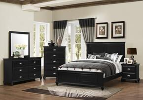 1000-6652/68SK Nantucket Set Including King Bed, Dresser, Mirror, Chest and Nightstand with Molding Detail, Turned Legs and Bun Feet in Black
