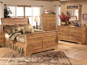 Bittersweet Queen Bedroom Set with Sleigh Bed, Dresser, Mirror and Chest in Light Wood