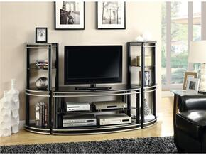 700722SET 3 PC Entertainment Set with TV Console + 2 Media Towers in Black and Silver Color