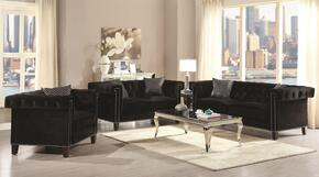 Reventlow 505817SET 4 PC Living Room Set with Sofa + Loveseat + Chair + Coffee Table in Black Color