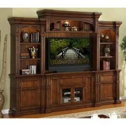 ZG-B1100-TBBB Berkshire 4 Piece Entertainment Center Set with TV Stand, Two Side Bookcases, Back Panel and Top Bridge, in Old World Umber