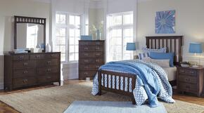 Strenton Twin Bedroom Set with Panel Bed, Dresser, Mirror, Chest and 2 Nightstands in Brown