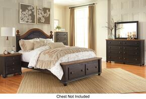 Maxington Queen Bedroom Set with Storage Bed, Dresser, Mirror and Single Nightstand in Brown