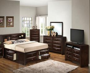 G1525GQSB3DMCHTV2 5 Piece Set including  Queen Size Bed, Dresser, Mirror, Chest and Media Chest in Cappuccino