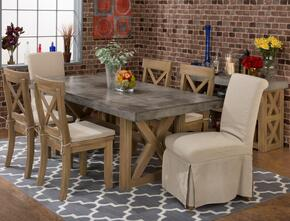 757-78TNBNKTSET7 Boulder Ridge Concrete Rectangle Dining Table with 6 X Back Side Chairs