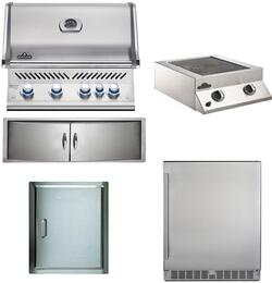 "5-Piece Stainless Steel Outdoor Kitchen Package with BIPRO500RBPSS2 31"" Liquid Propane Grill, BISB245PFT 20"" Side Burner, NFR055ORSS 35"" Outdoor Refrigerator, N3700071 13"" Access Door, and N3700360 24"" Storage Drawer"