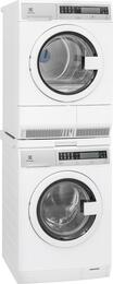 "White Compact Front Load Laundry Pair with EFLS210TIW 24"" Washer, EFDE210TIW 24"" Electric Dryer and STACKIT24 Stacking Kit"