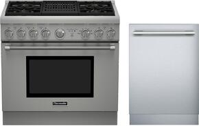 "2 Piece Stainless Steel Kitchen Package With PRD364NLHU 36"" Gas Freestanding Range and DWHD440MFM 24"" Dishwasher For Free"