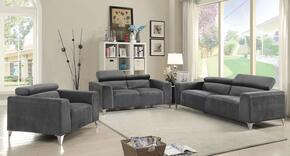 G333SET 3 PC Living Room Set with Sofa + Loveseat + Armchair in Grey Color
