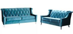 LC844BLUESET2PCSL Barrister Transitional Style 2 Piece Livingroom Set, Sofa and Loveseat with Button-tufted Detail and Chrome-build in Blue Velvet