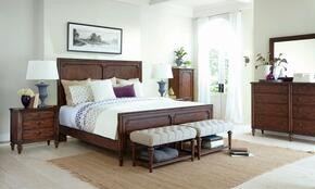 Cranford 4800KPBNDM 4-Piece Bedroom Set with King Panel Bed, Nightstand, Dresser and Mirror in Brown