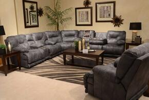 Voyager Collection 643811228-53/3028-53SECP 4 PC Sectional Sofa Set with Power Lay Flat Reclining Sofa + Loveseat + Wedge + Recliner in Slate Color