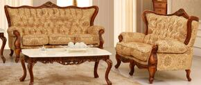 995FBEIGES2SET Traditional 2 Piece Livingroom Set, Sofa and Loveseat in Beige with Matte Walnut Finish