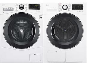 "White Laundry Pair with WM1388HW 24"" Washer and DLEC888W 24""  Electric Condensing Dryer"