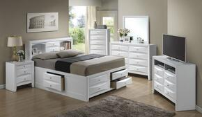 G1570GFSB3SET 6 PC Bedroom Set with Full Size Storage Bed + Dresser + Mirror + Chest + Nightstand + Media Chest in White Finish