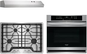 "Frigidaire Gallery 3-Piece Kitchen Package With FGGC3045QS 30"" Gas Cooktop, FGEW3065PF 30"" Electric Single Wall Oven and FHWC3025MS 30"" Under Cabinet Convertible Hood in Stainless Steel"