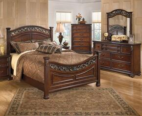 Leahlyn Queen Bedroom Set with Panel Bed, Dresser, Mirror and Chest in Warm Brown