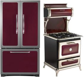 "3-Piece Cranberry Kitchen Package with 301500RCRN 30"" Bottom Freezer Refrigerator, 4210CDGCRN 30"" Freestanding Dual Fuel Range, and HCDWI1CRN 24"" Fully Integrated Dishwasher"