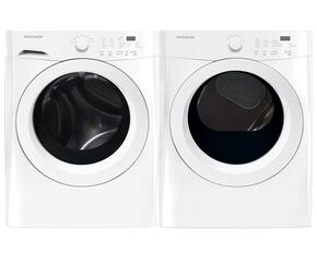 White Front Load Laundry Pair with FFFW5000QW 27' Washer and FFQG5000QW 27' Gas Dryer
