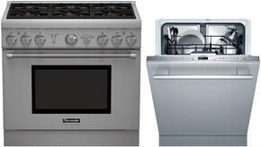 "2 Piece Stainless Steel Kitchen Package With PRG366GH 36"" Gas Freestanding Range and DWHD440MFP 24"" Dishwasher For Free"
