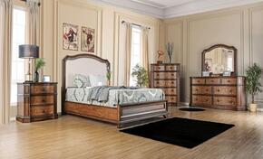 Emmaline Collection CM7831FEKBEDSET 5 PC Bedroom Set with Eastern King Size Panel Bed + Dresser + Mirror + Chest + Nightstand in Warm Chestnut Finish