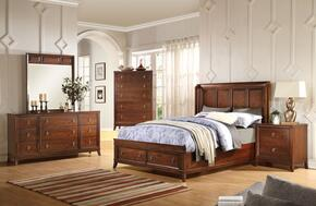Midway 20980Q5PC Bedroom Set with Queen Size Bed + Dresser + Mirror + Chest + Nightstand in Cherry Finish