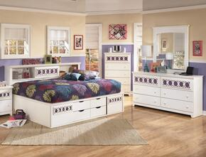 Zayley Full Bedroom Set with Bedside Storage Bed, Dresser, Mirror and Chest in White