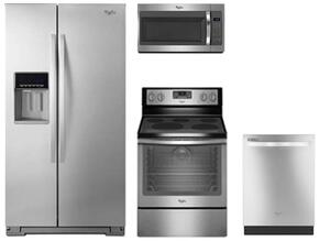 "4-Piece Stainless Steel Kitchen Package with WRS571CIDM 36"" Side by Side Refrigerator, WFE540H0ES 30"" Electric Range, WMH31017FS 30"" Microwave Oven and WDT720PADM 24"" Built In Dishwasher"