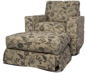 Americana Collection SU-108520-30-481893 Slipcovered Chair and Ottoman in Contemporary Floral