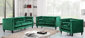 Taylor Collection 717699 3 Piece Living Room Set with Sofa + Loveseat and Chair in Green