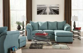 Darcy 75006SCHCO3TR2L2WA 11-Piece Living Room Set with Sofa Chaise, Chair, Ottoman, Set of 3 Tables, Rug, 2 Lamps and 2PC Wall Art Set in Sky Blue