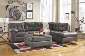 Alliston 20102RCHSSO2ETR2LWA 8-Piece Living Room Set with Right Chaise Sectional Sofa, Ottoman, 2 End Tables, Rug, 2 Lamps and Wall Art in Grey